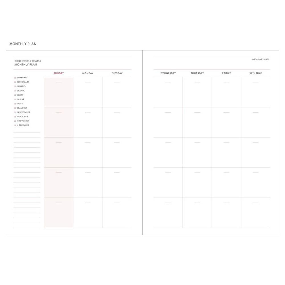 Monthly plan - Indigo Prism spiral bound undated weekly diary planner