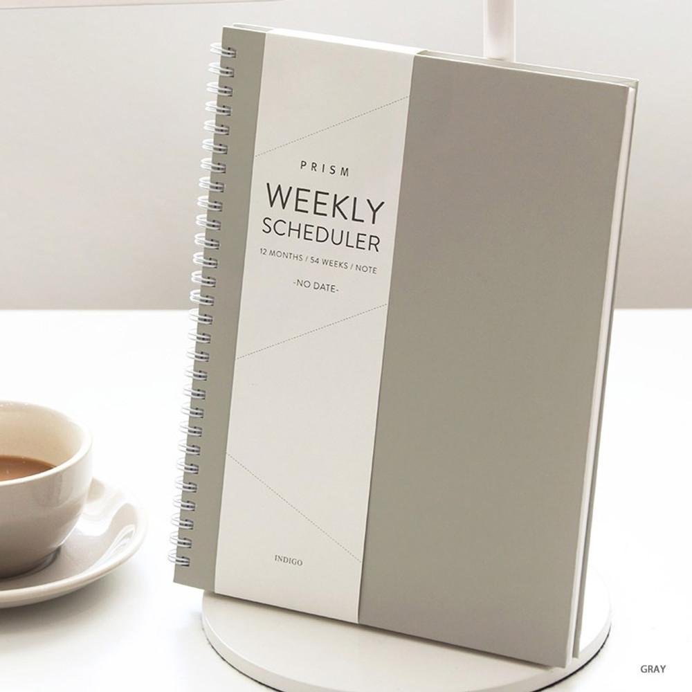 Gray - Indigo Prism spiral bound undated weekly diary planner