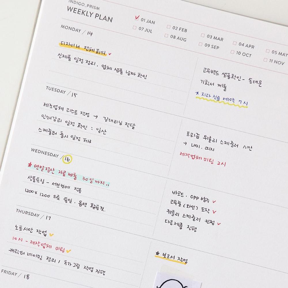 Weekly plan - Indigo Prism spiral bound undated weekly diary planner