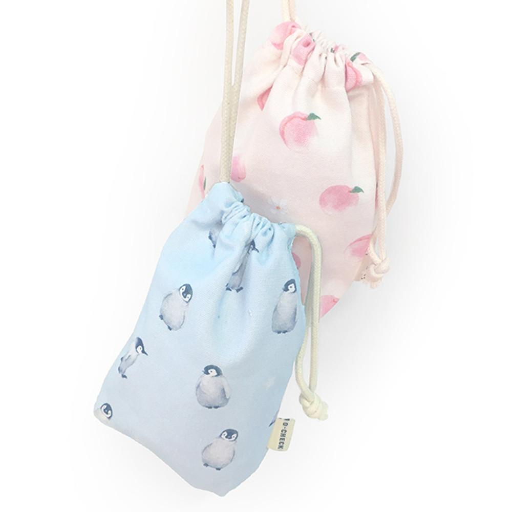 O-check Pattern medium cotton drawstring pouch
