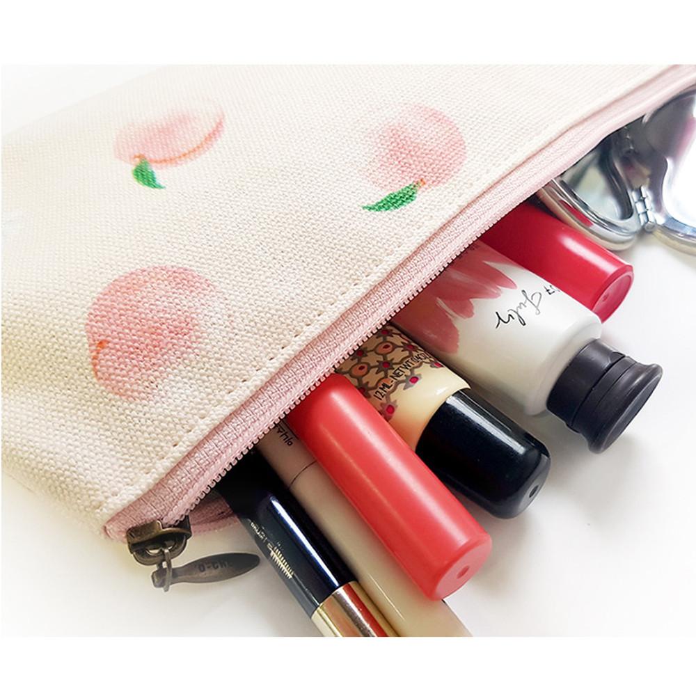 Peach  - O-check Pattern cotton pencil case pouch