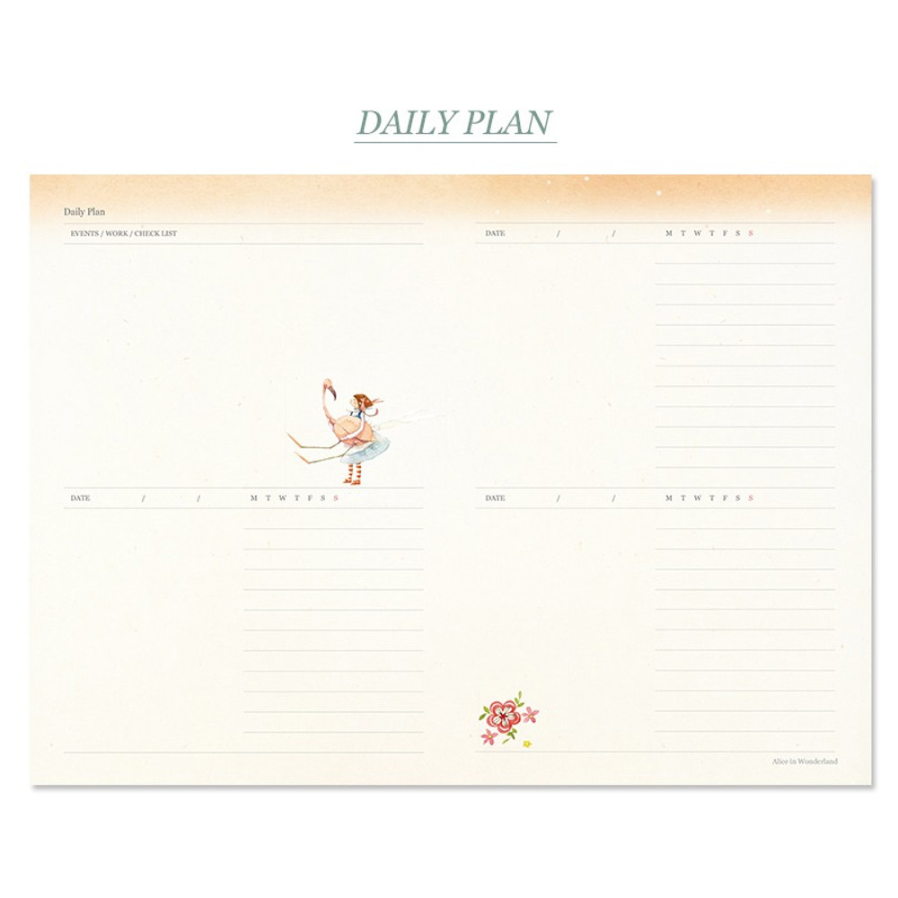 Daily plan - Alice in wonderland hardcover dateless daily diary