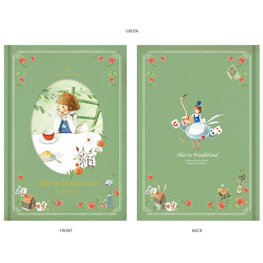 Green - Alice in wonderland hardcover dateless daily diary planner