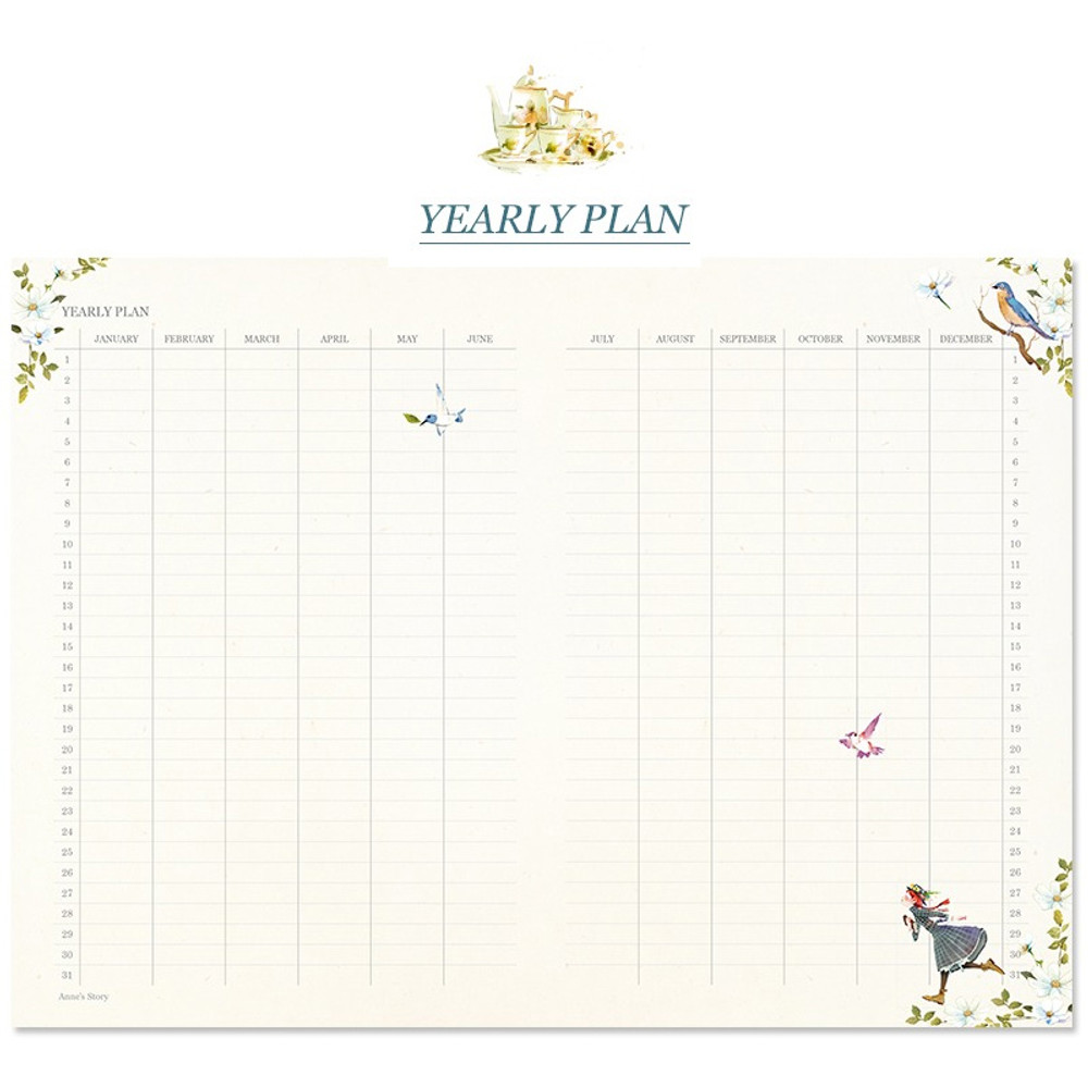 Yearly plan - Anne story hardcover dateless daily diary