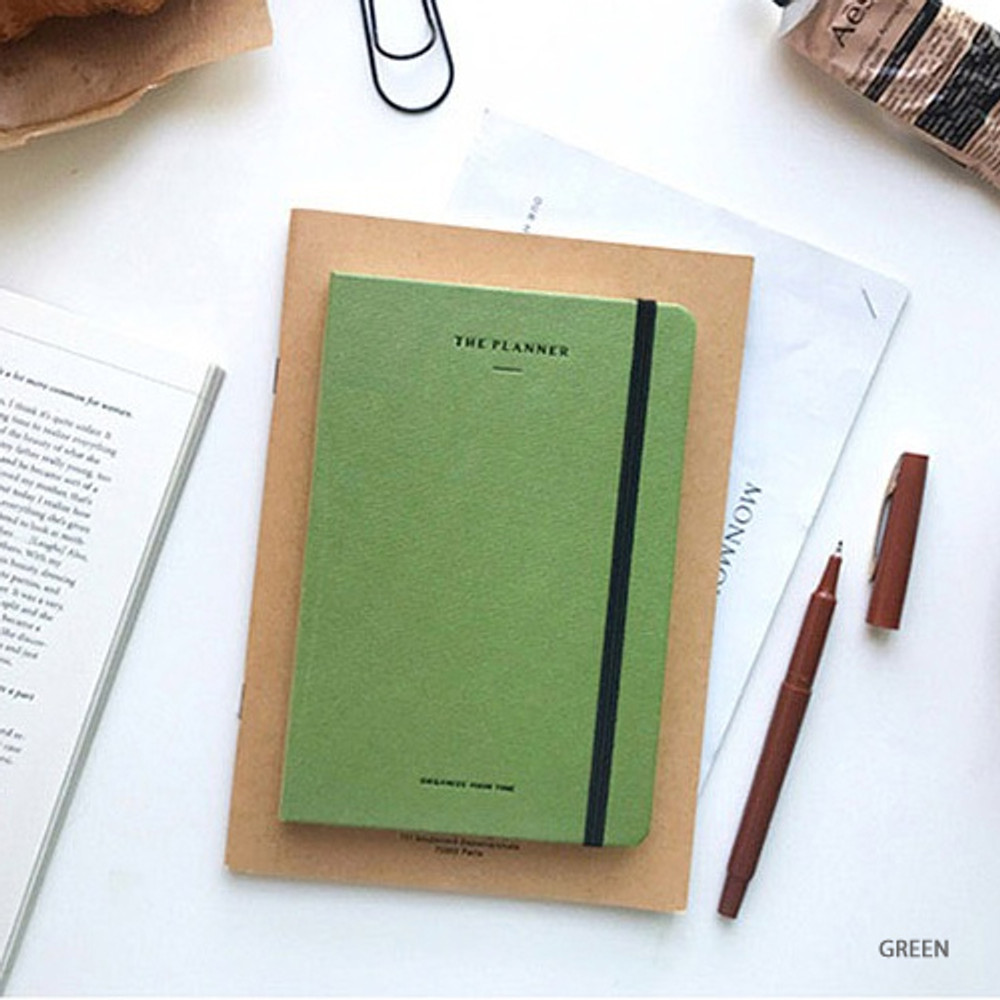 Green - The time planner small undated daily diary agenda ver3