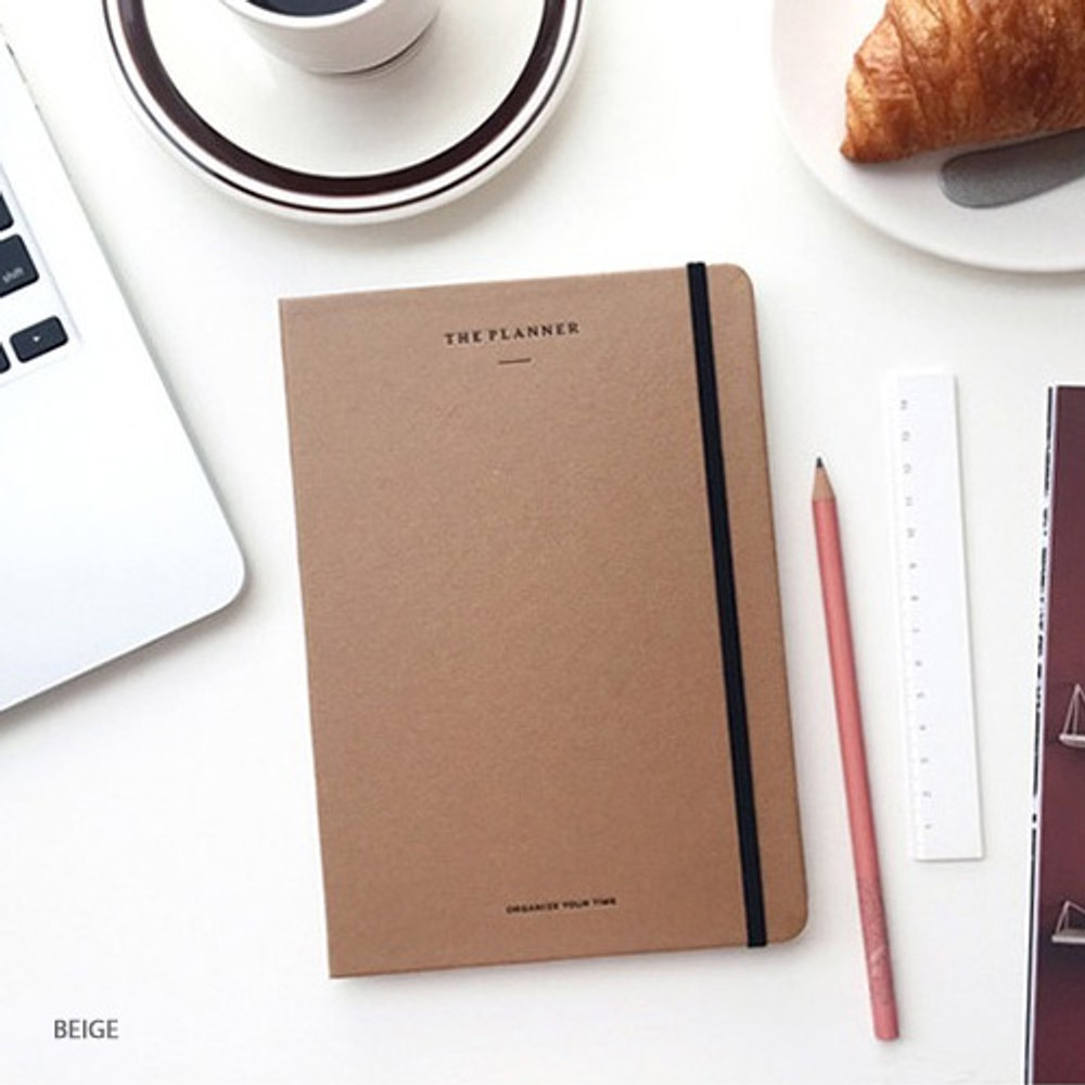 Beige - The time planner large dateless weekly planner