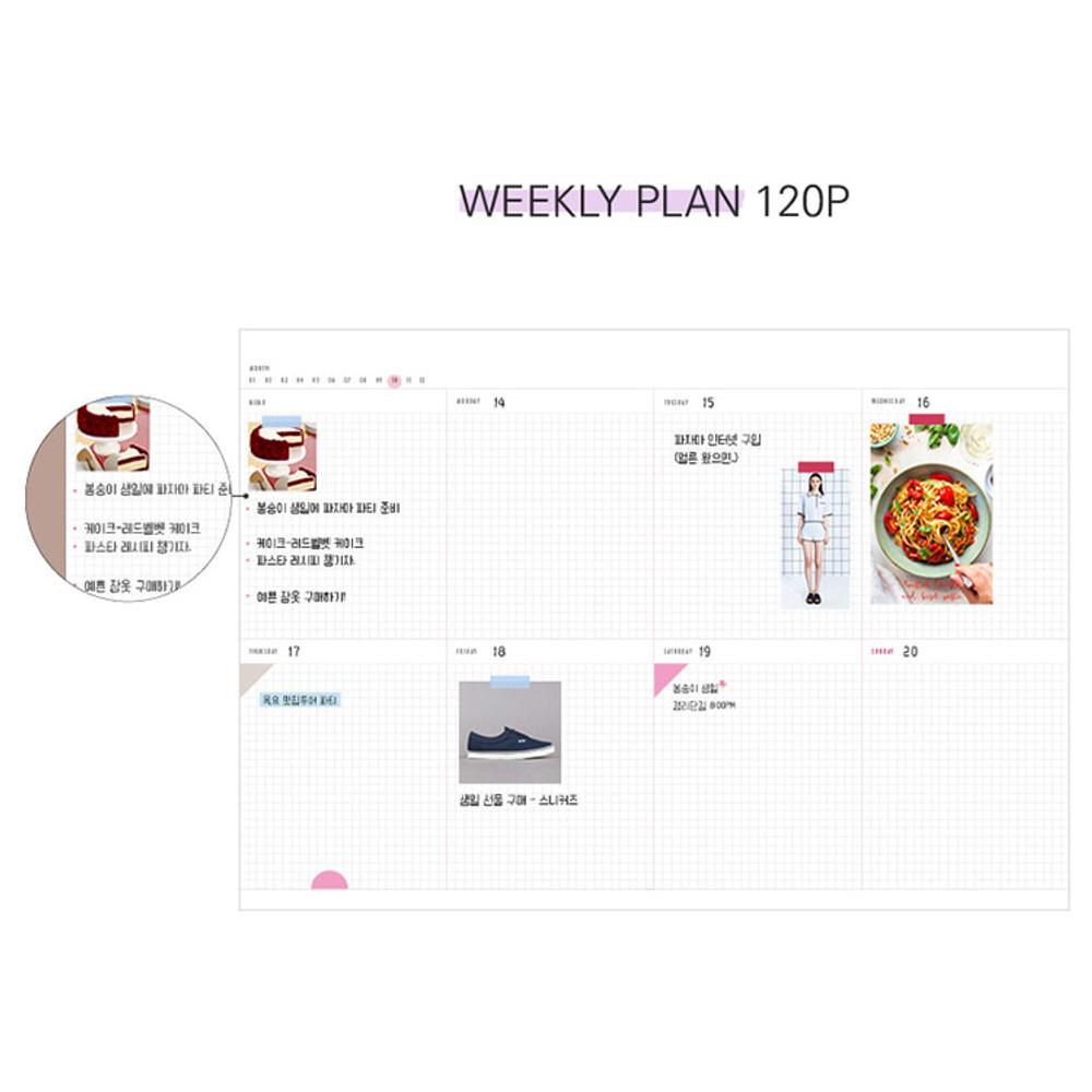 Weekly plan - Moon piece large dateless weekly diary agenda