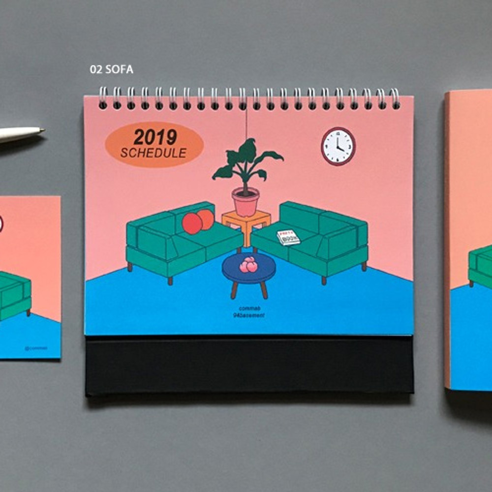 02 Sofa - 2019 Colorful illustration dated monthly desk scheduler