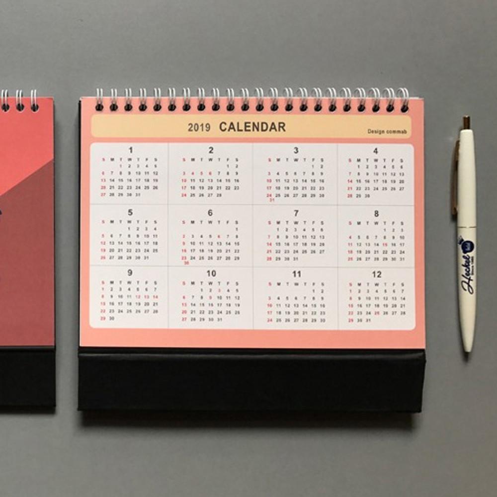Calendar - 2019 Colorful illustration dated monthly desk scheduler