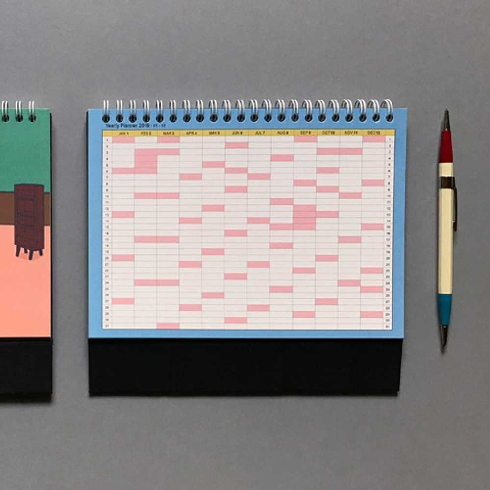 Yearly plan - 2019 Colorful illustration dated monthly desk scheduler
