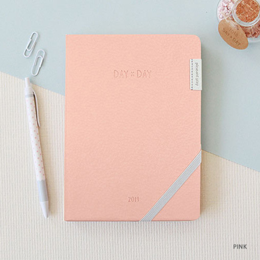 Pink - 2019 Day by Day large dated weekly diary