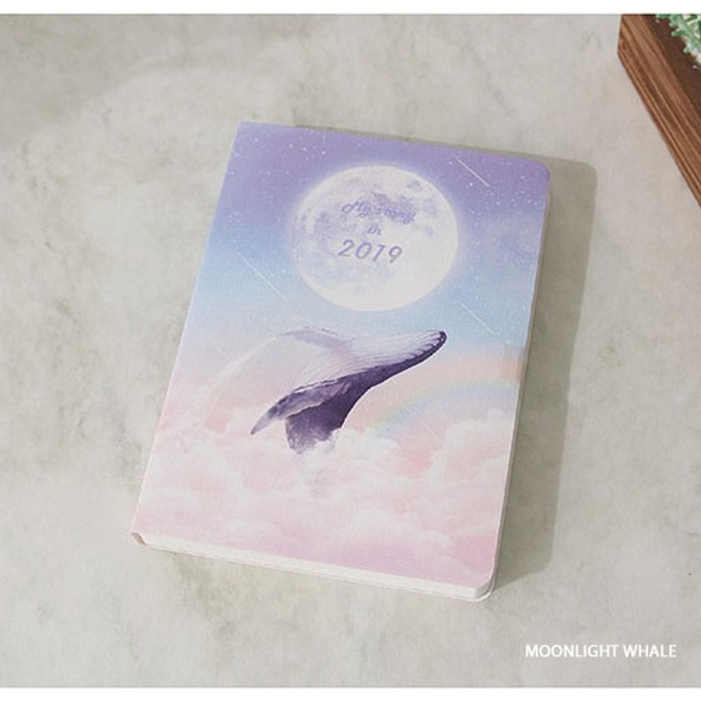 Moonlight whale - 2019 My story small dated daily diary journal