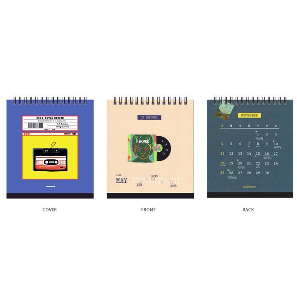 Composition - 2019 Retro spiral bound desk flip calendar
