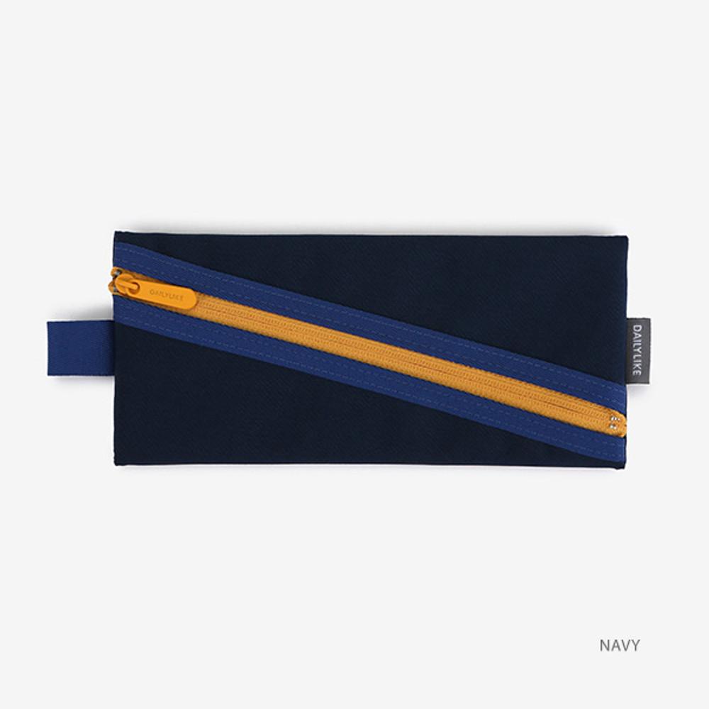 Navy - Le petit marche colorful line zipper pen case