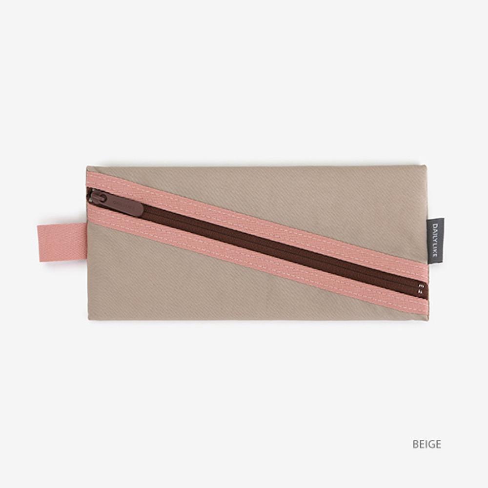 Beige - Le petit marche colorful line zipper pen case