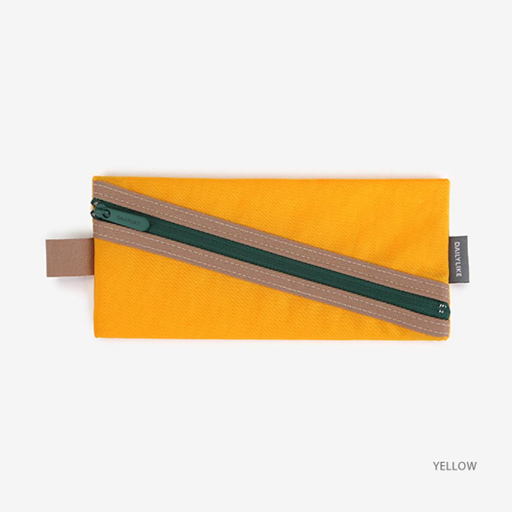 Yellow - Le petit marche colorful line zipper pen case