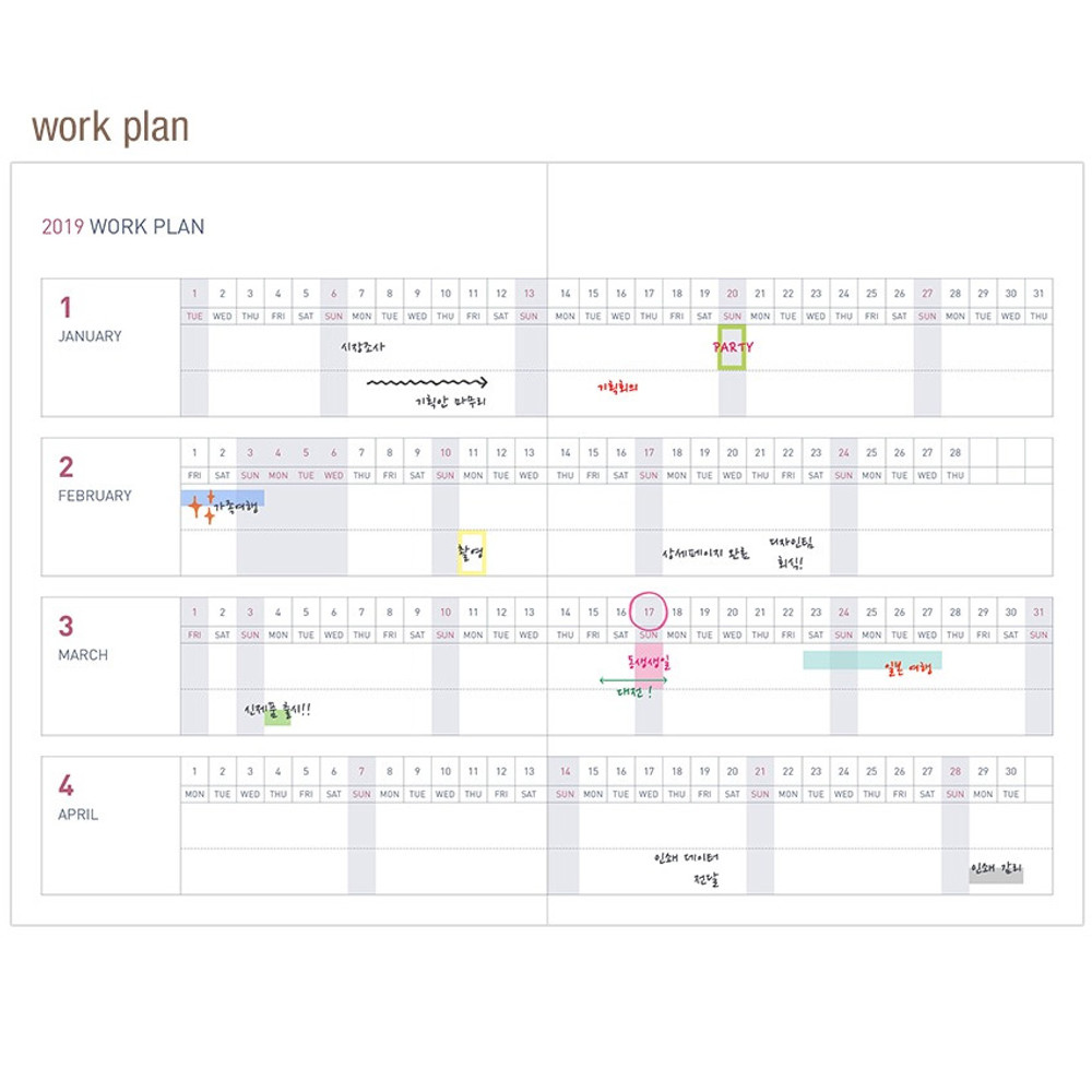 Work plan - 2019 Appointment B6 business dated weekly scheduler