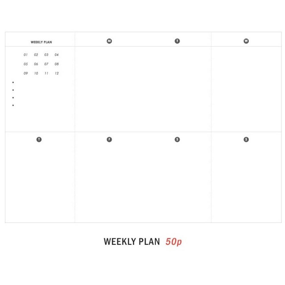 Weekly plan - 27 Weeks A6 size undated weekly planner