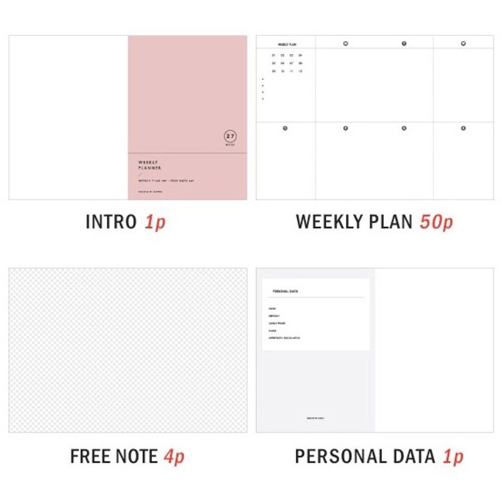 Composition - 27 Weeks A6 size undated weekly planner