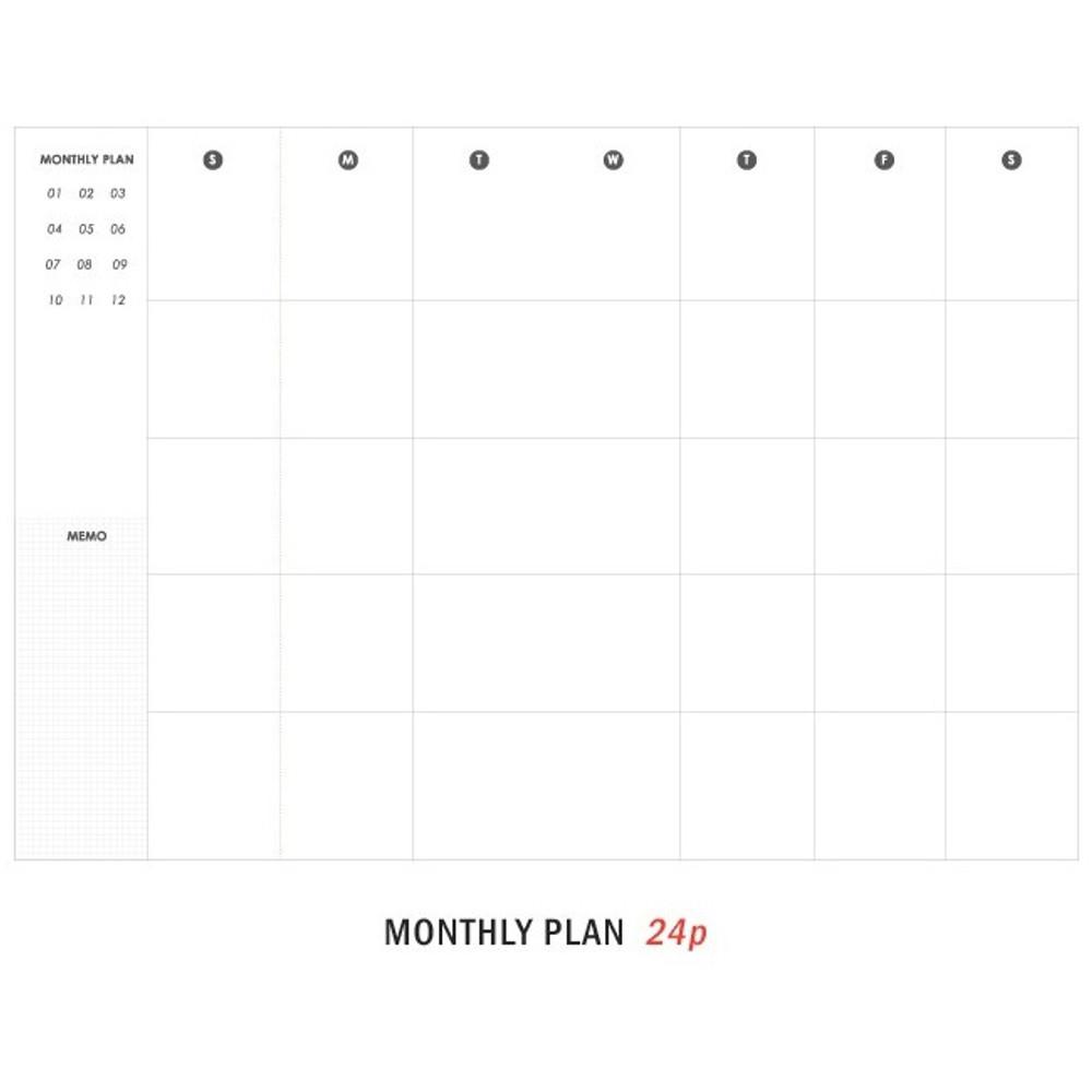 Monthly plan - 12 Months A6 size undated monthly scheduler