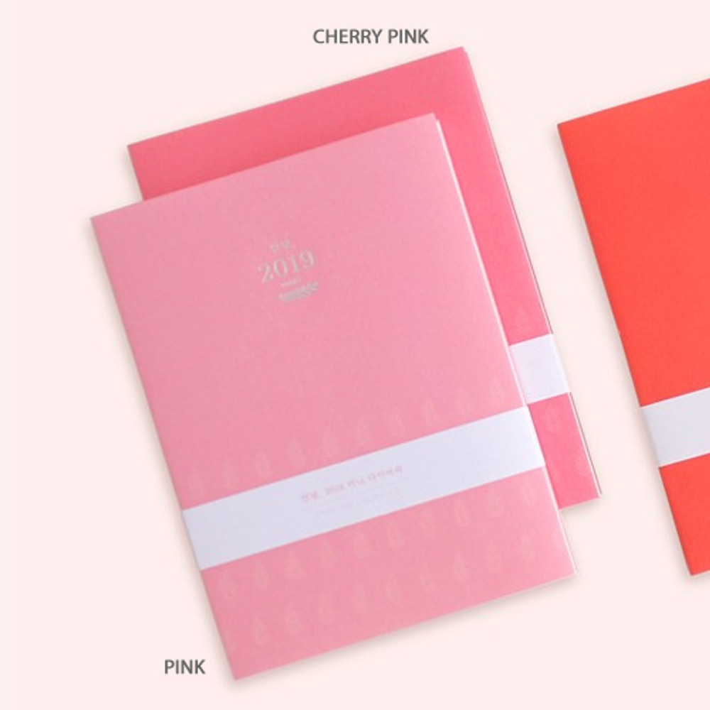 Pink, Cherry pink - 3AL Hello 2019 small dated weekly agenda scheduler