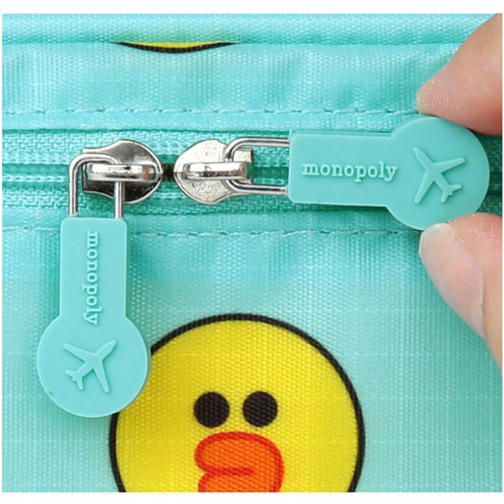 Rubber zip sliders - Line friends travel large multi pouch bag organizer