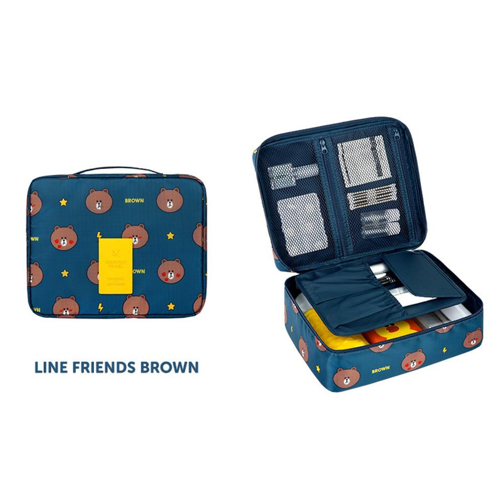 Brown - Line friends travel large multi pouch bag organizer