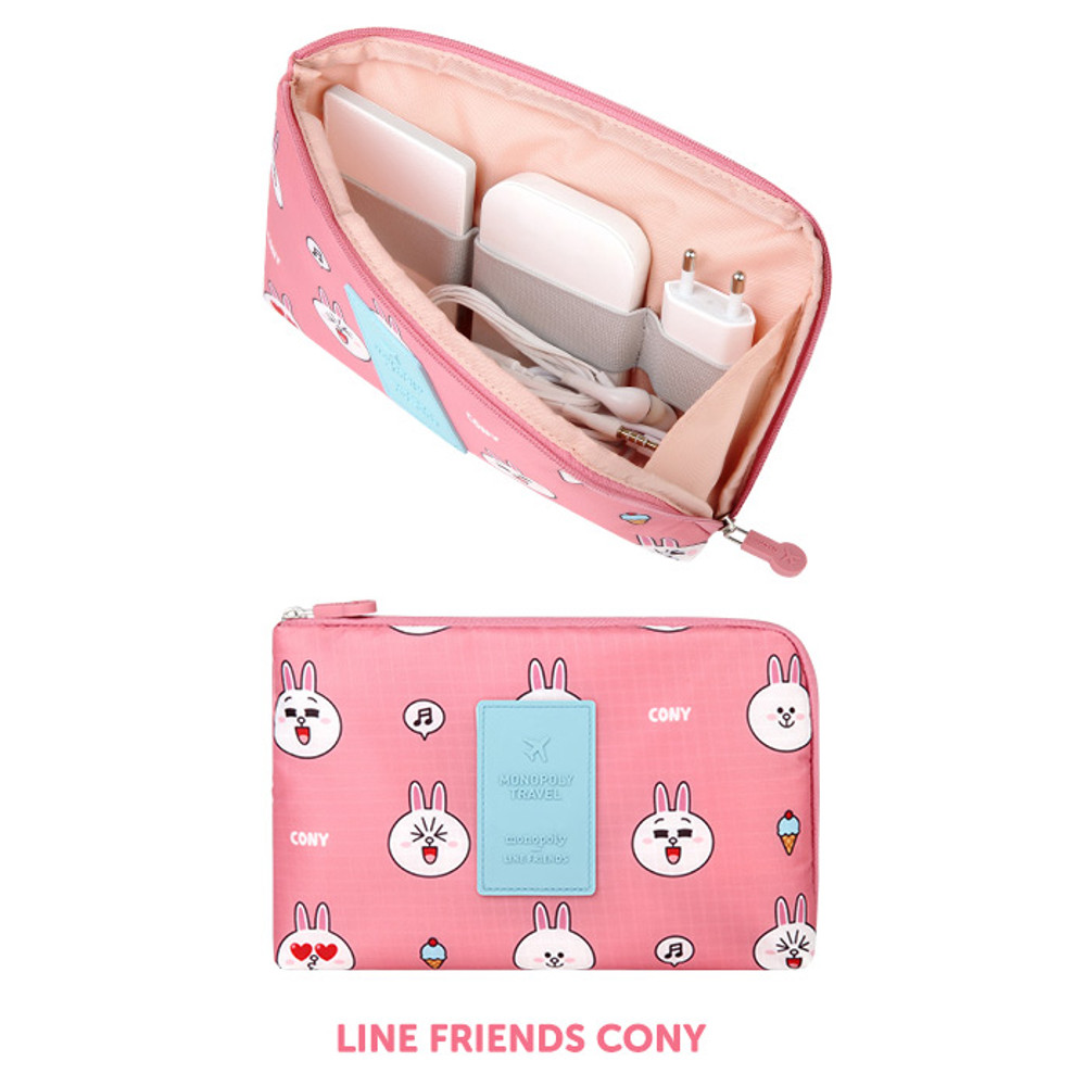 Cony - Line friends half zip around large cable pouch (2018)
