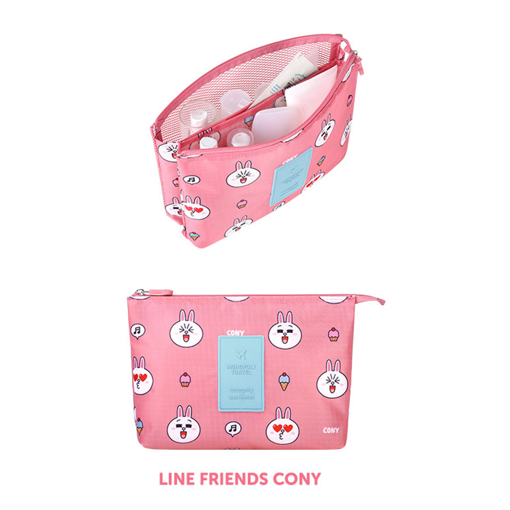 Cony - Line friends travel mesh large pocket pouch