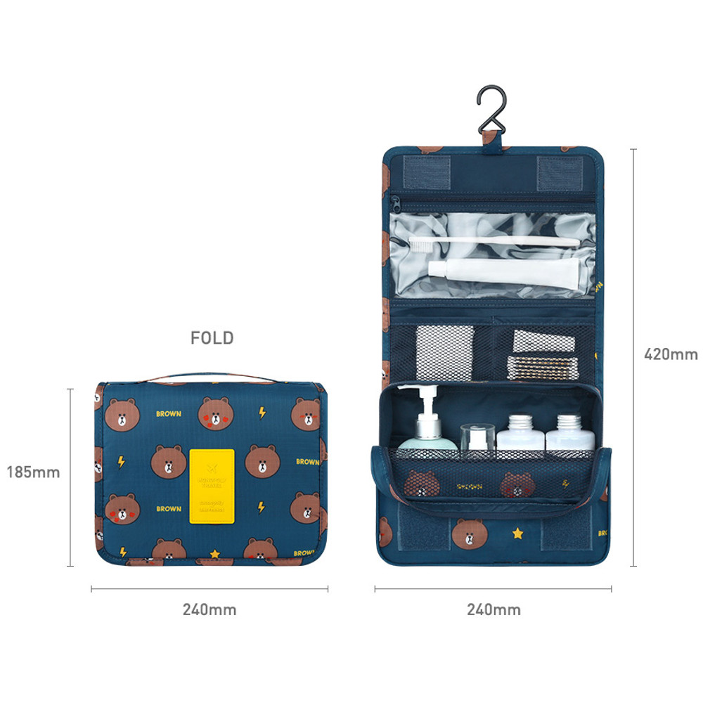 Size of Line friends pattern travel hanging toiletry bag