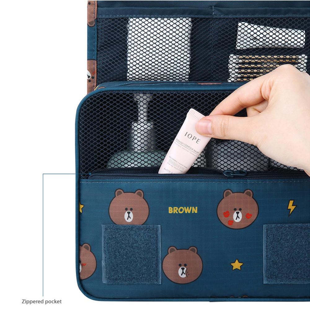 Front zipper pocket - Line friends pattern travel hanging toiletry bag