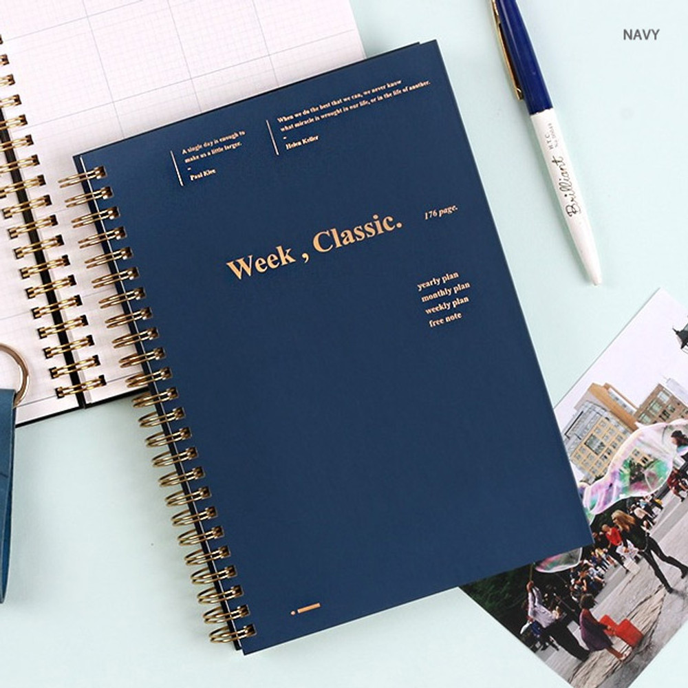 Navy - Wanna This Classic spiral bound dateless weekly planner