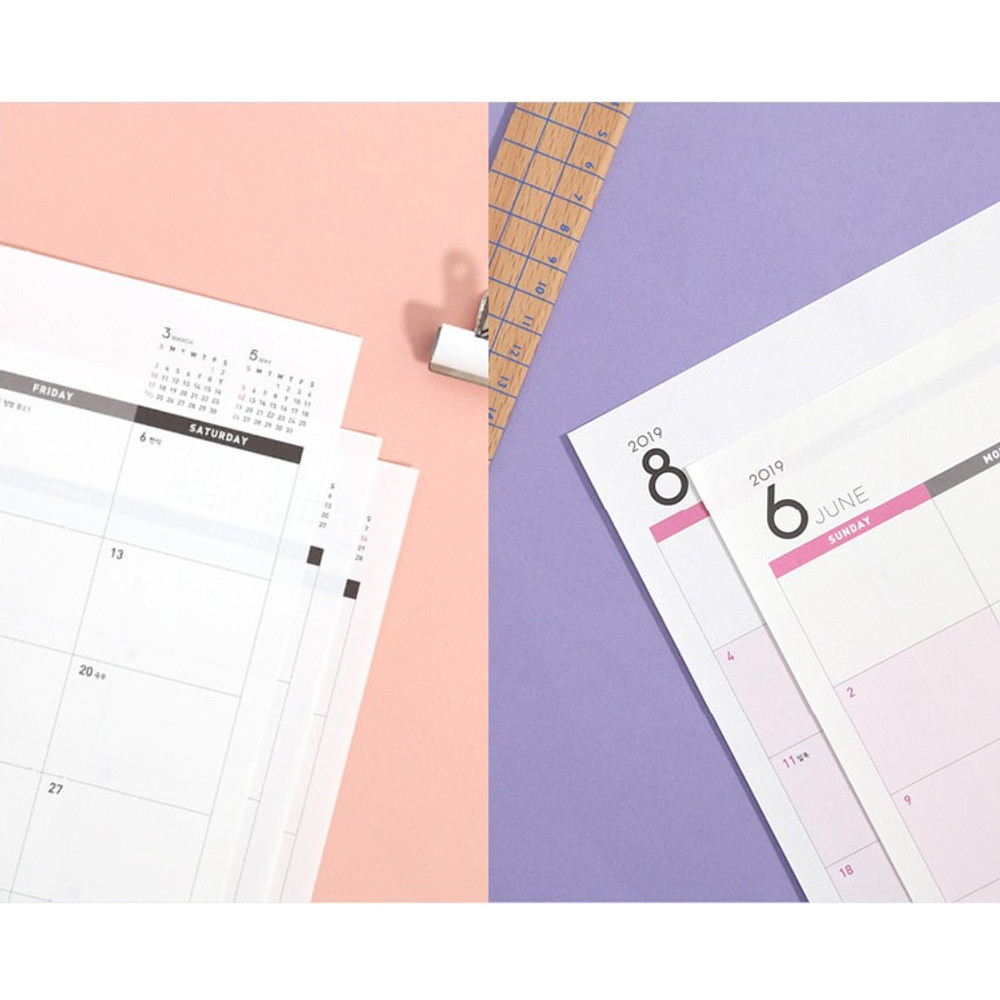 Detail of Second mansion 2019 Wide desk dated monthly scheduler