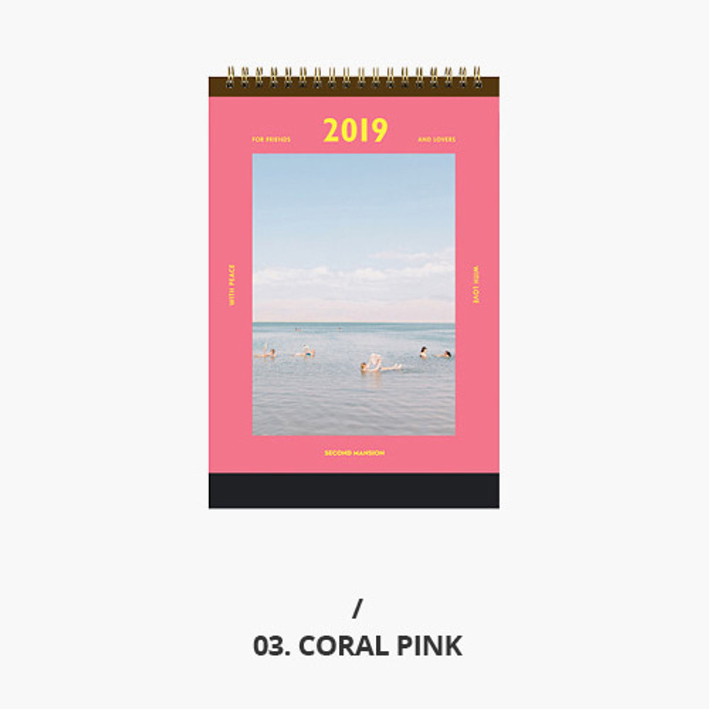 Coral pink - Second mansion 2019 Moment monthly desk to flip calendar