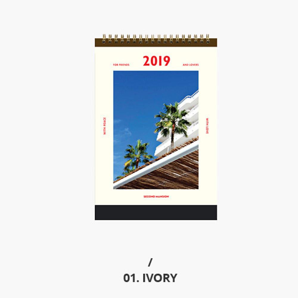 Ivory - Second mansion 2019 Moment monthly desk to flip calendar