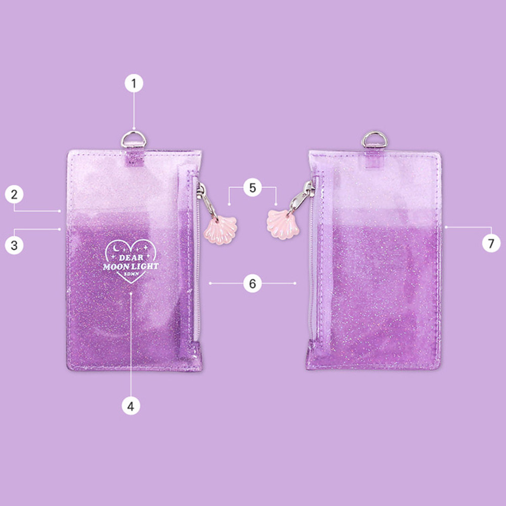 Composition - Dear moonlight twinkle zipper card case with neck strap