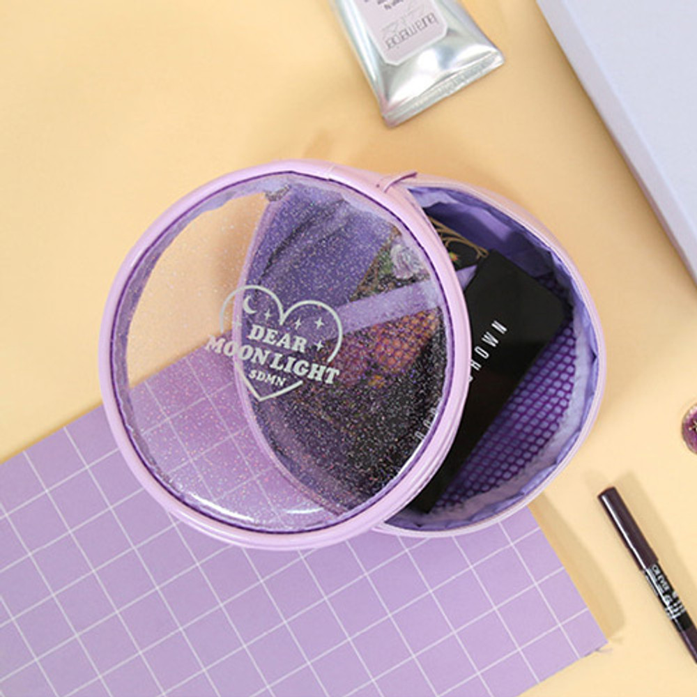 Lavender - Dear moonlight twinkle circle zipper pouch