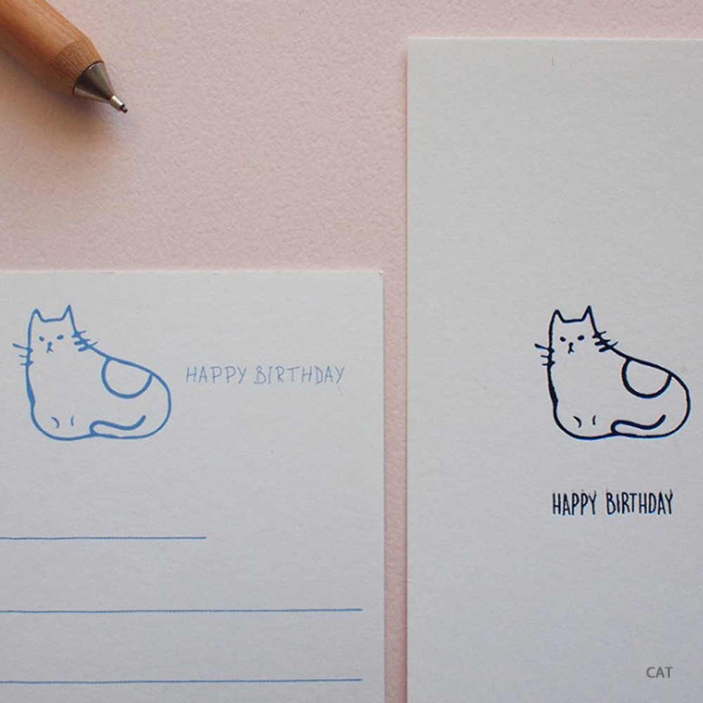 Cat - Hello Today Hushed brown twinkle animal message post card