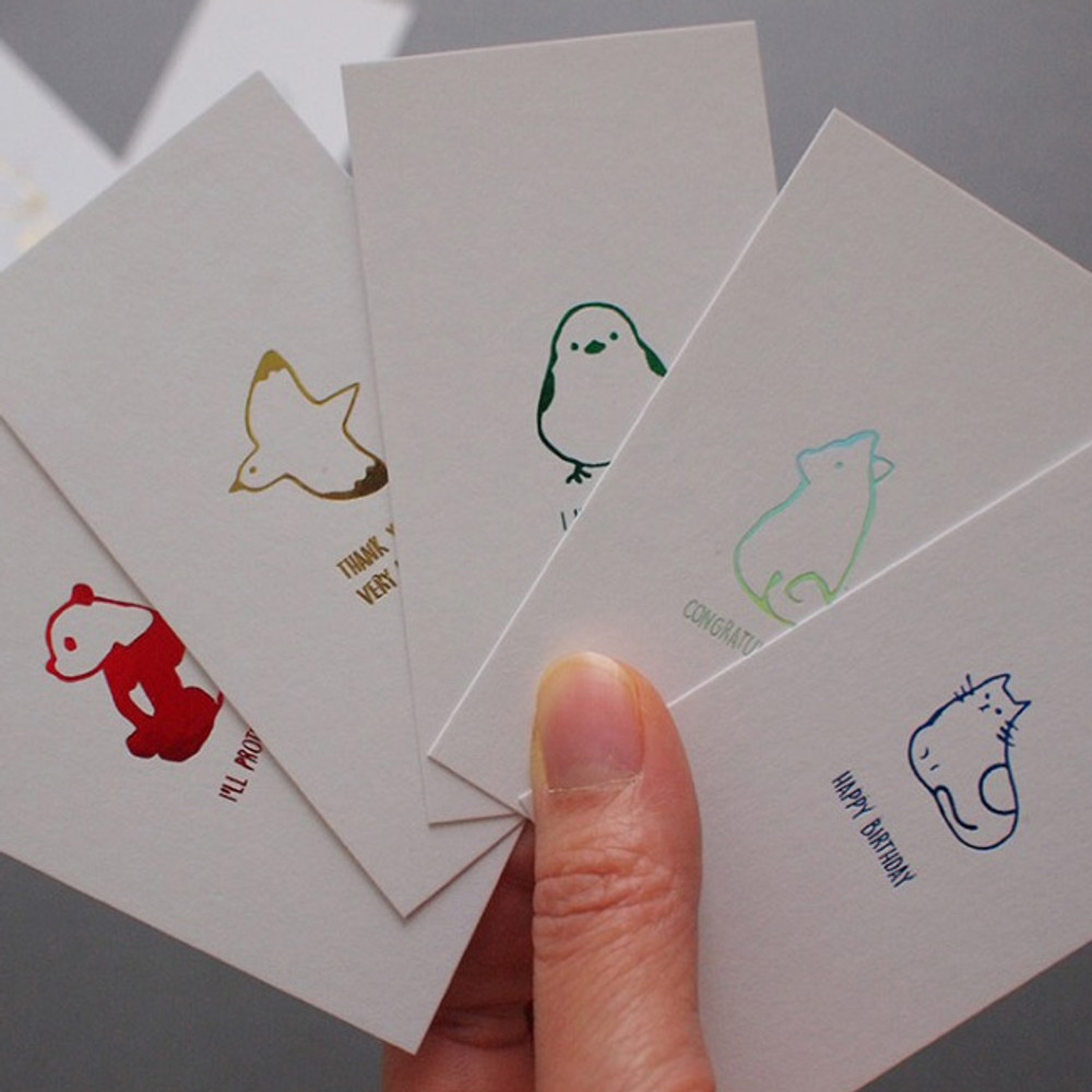 Hello Today Hushed brown twinkle animal message post card