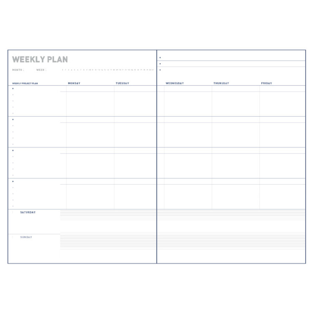 Weekly plan - All about the project dateless weekly planner