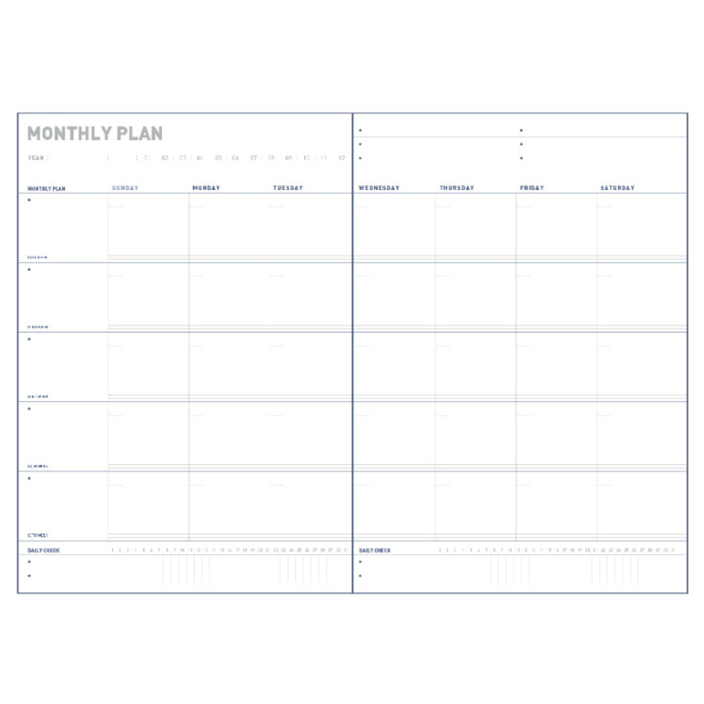 Monthly plan - All about the project dateless weekly planner