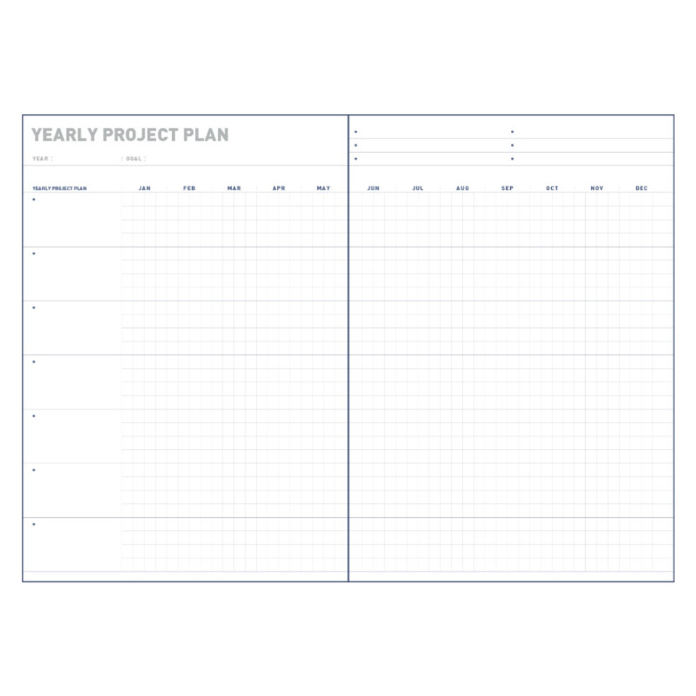 Yearly project plan - All about the project dateless weekly planner
