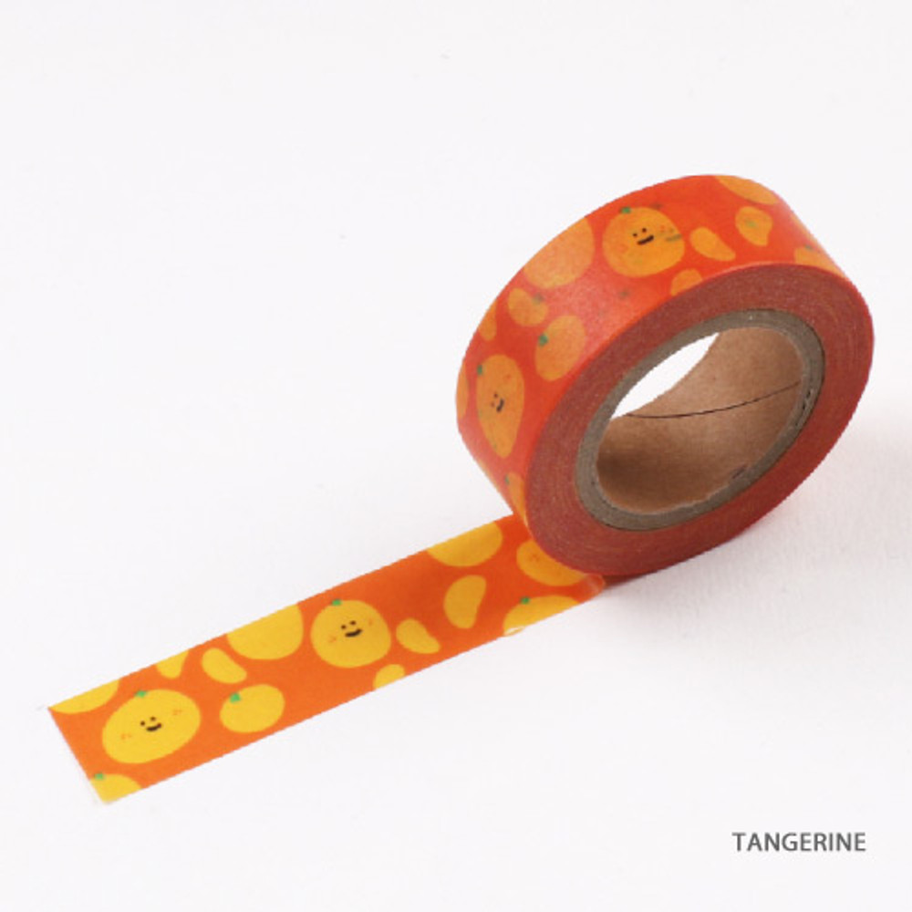 Tangerine - Fruits pattern masking tape 15mm X 10m