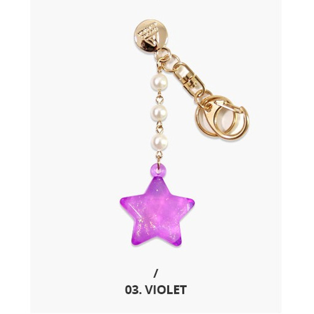 Violet - Second mansion Twinkle star acrylic key ring clip holder