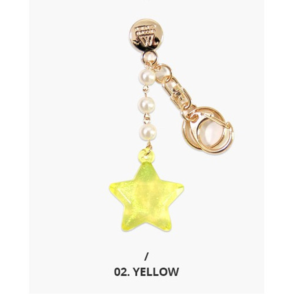 Yellow - Second mansion Twinkle star acrylic key ring clip holder
