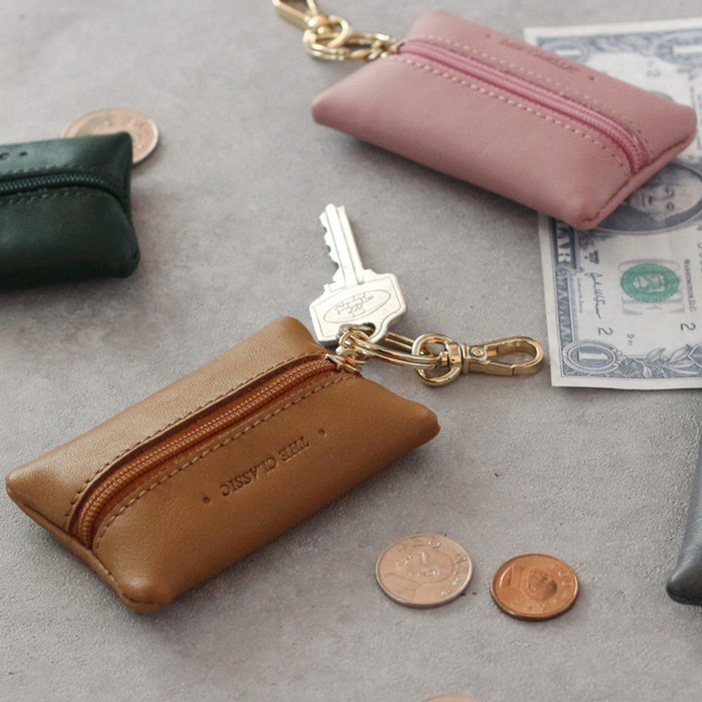 Classic cowhide leather small zipper pocket with key ring