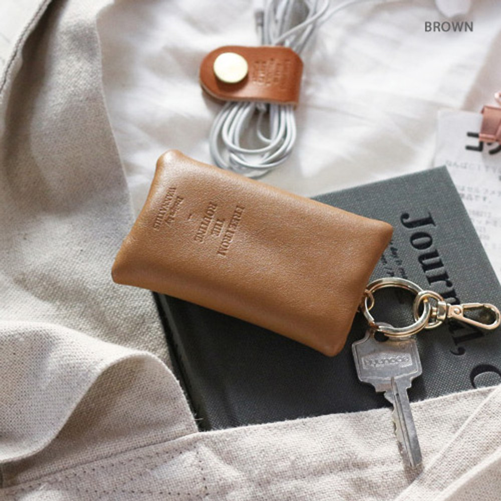 Brown - Classic cowhide leather small zipper pocket with key ring