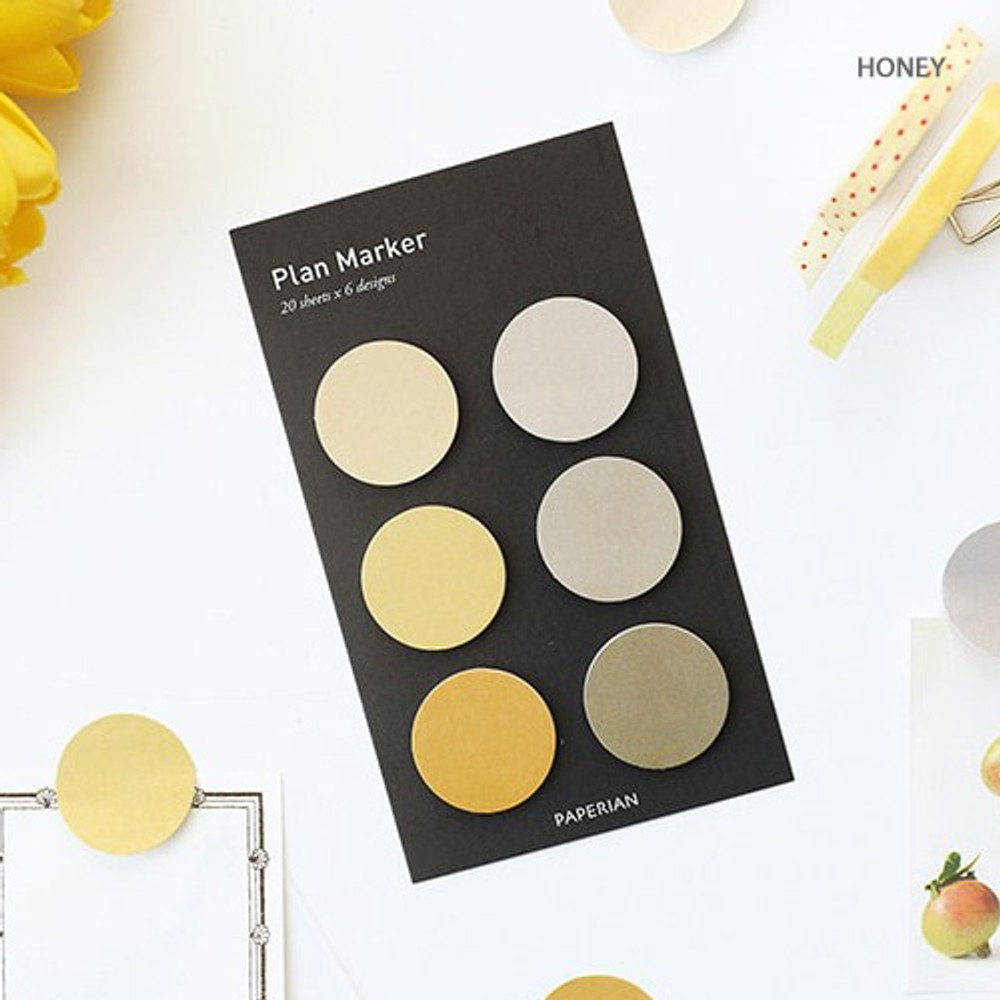 Honey - Round small sticky notepad for monthly and weekly plan