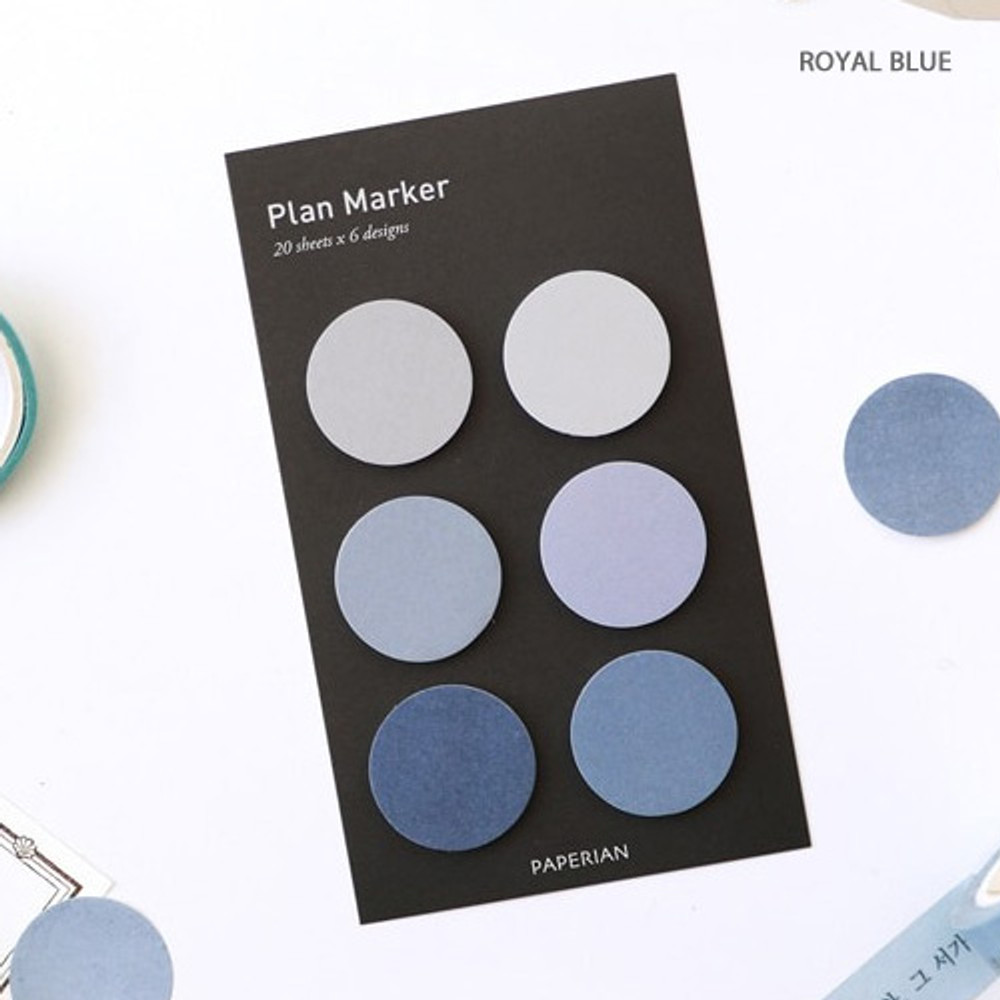 Royal blue - Round small sticky notepad for monthly and weekly plan