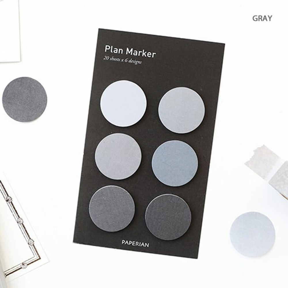 Gray - Round small sticky notepad for monthly and weekly plan